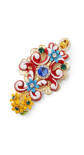 DOLCE & GABBANA Gold-plated, Swarovski crystal and resin hairclip