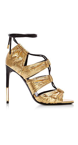 TOM FORD Metallic Laminated Eel Lace-Up Sandal