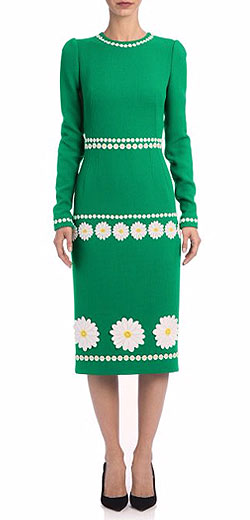 Dolce & Gabbana Daisy-Applique Crepe Sheath