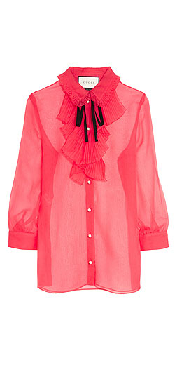 GUCCI Ruffled crinkled silk-chiffon blouse