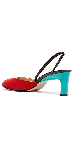 PAUL ANDREW Celestine suede and patent-leather slingback pumps