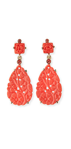 Oscar de la Renta Carved Teardrop Statement Earrings