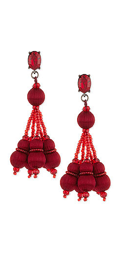 Oscar de la Renta Crystal Pompom Tassel Clip Earrings