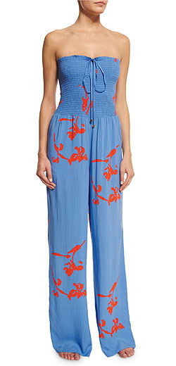 Tory Burch Talisay Floral-Print Jumpsuit Coverup