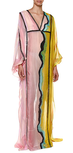 Emilio Pucci Long-Sleeve Colorblock Swim Caftan Coverup
