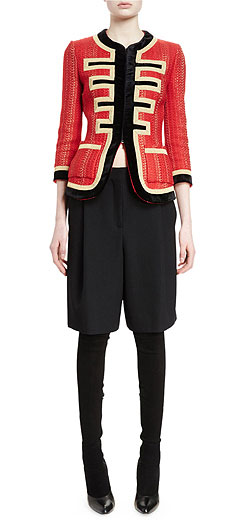 Givenchy 3/4-Sleeve Metallic-Striped Military Jacket