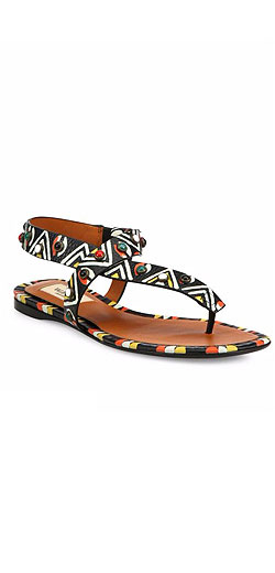 Valentino Painted Leather Flat Sandals