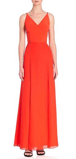 Phoebe Crepe V-Neck Chiffon Gown