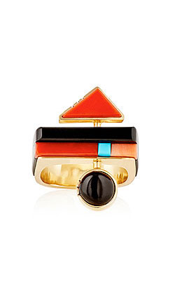MAHNAZ ISPAHANI VINTAGE Geometric-Inlay Ring