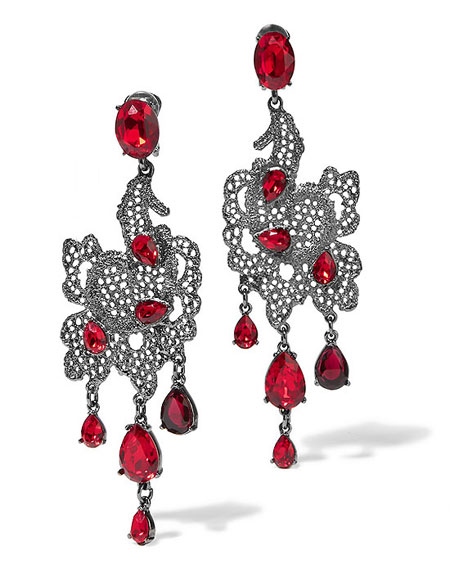 OSCAR DE LA RENTA Silver-plated Swarovski crystal clip earrings