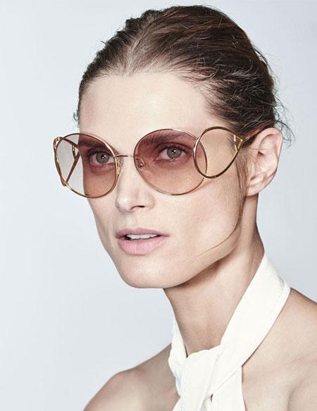 Chloe Jackson Oversized Round Metal Sunglasses