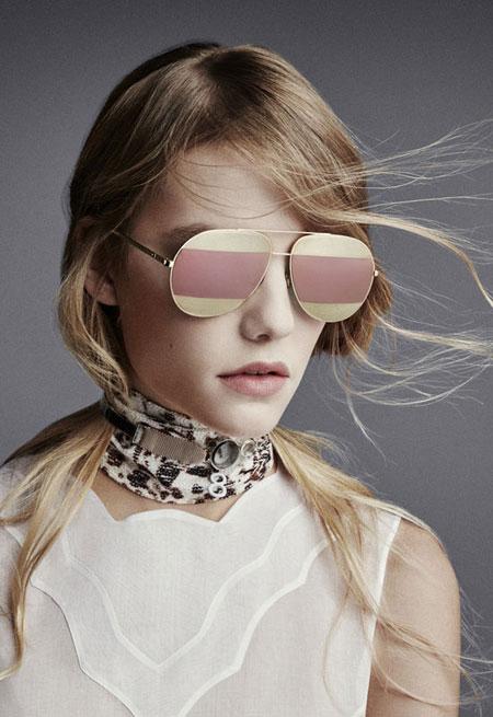 Dior Split Two-Tone Metallic Aviator Sunglasses