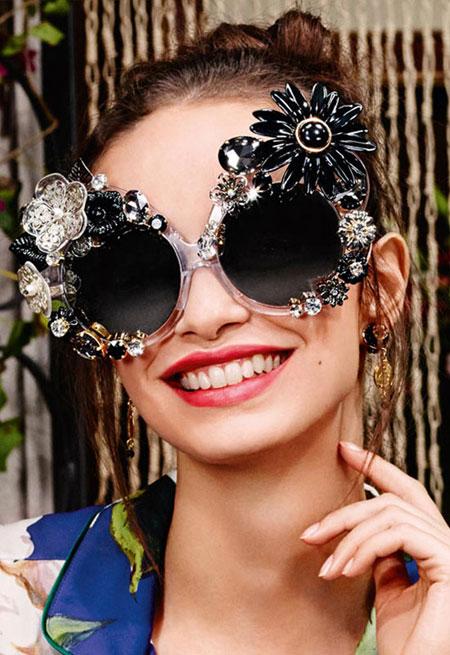 Dolce & Gabbana 60MM Floral-Embellished Irregular Mirrored Sunglasses
