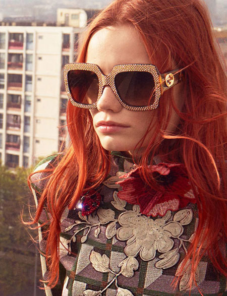 Gucci Crystal-Trim Square Gradient Sunglasses