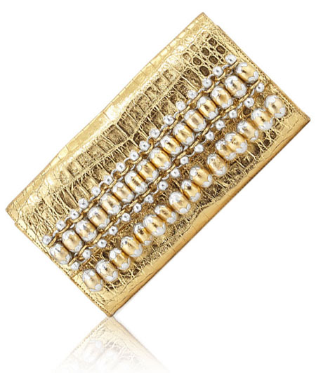 Nancy Gonzalez Metallic Bead-Fringe Crocodile Clutch Bag