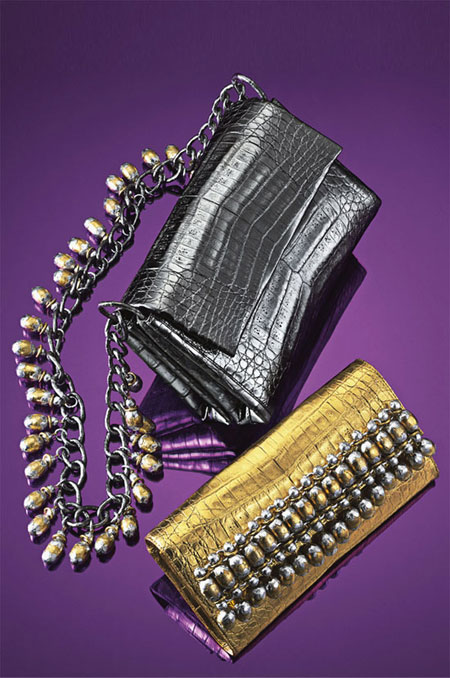 Nancy Gonzalez Metallic Bead Fringe Clutch Bags