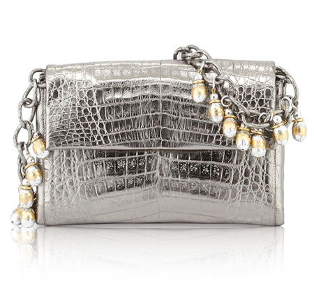 Nancy Gonzalez Metallic Crocodile Fringe Shoulder Bag