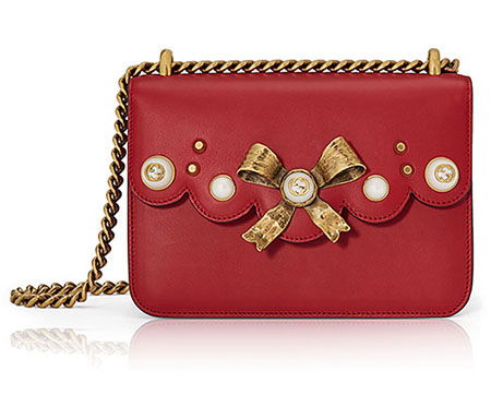 Peony Small Leather Chain Shoulder Bag in Red