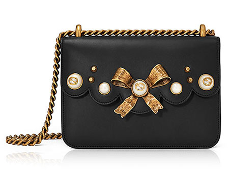 Peony Small Leather Chain Shoulder Bag in Black