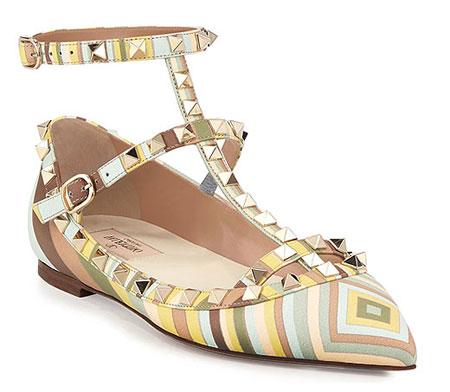 Valentino Harlequin Print Rockstud Flat Sandal