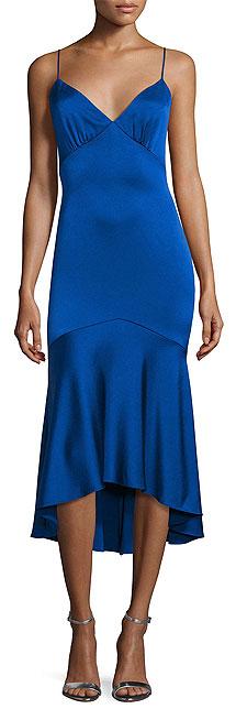 Theia Sleeveless V-Neck High-Low Blue Cocktail Slip Dress