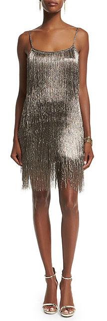 Rachel Zoe Sleeveless Fringe Cocktail Metallic Slip Dress