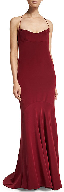 Narciso Rodriguez Maroon Red Chemise Open-Back Slip Dress Gown