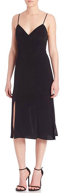 ABS Black V-Neck Slip Dress