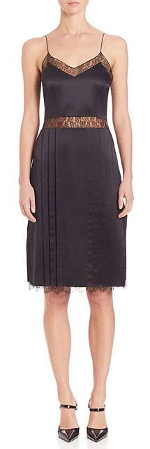 Michael Kors Collection Chantilly-Trim Black Silk Slip Dress