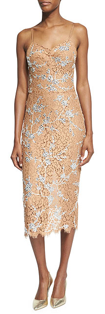 Michael Kors Collection Crystal-Encrusted Floral-Lace Slip Dress