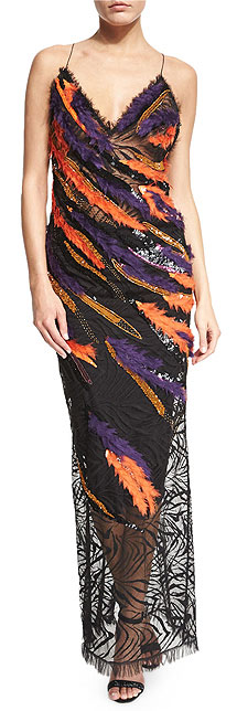 Versace Sleeveless Sequin Feathered Open-Back Slip Dress Gown