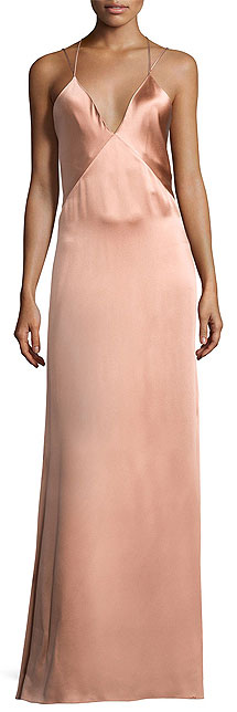 Galvan Sleeveless Silk Slip Gown with Strappy Back