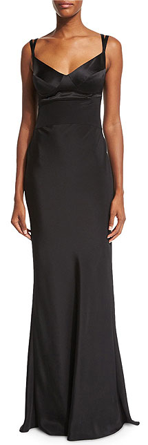 Narciso Rodriguez Sweetheart-Neck Black Silk Slip Gown