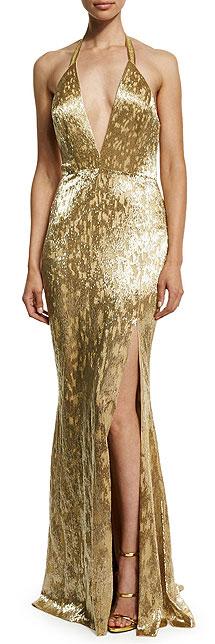 Alexandra Vidal Metallic Hand-Beaded Halter Slip Dress Gown