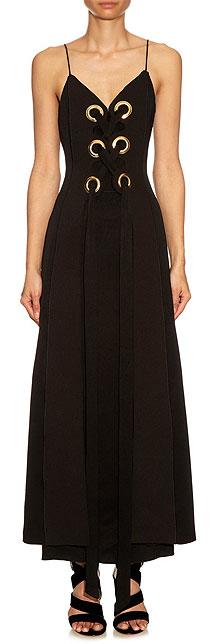 ELLERY Delorean black lace-up slip dress