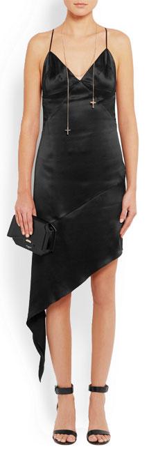 GIVENCHY Open-back midi dress in black silk-satin
