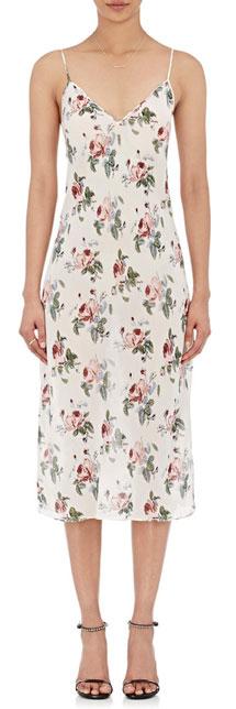 SAINT LAURENT Crepe Floral Slip Dress