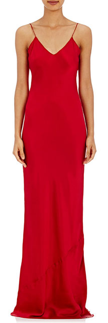 NILI LOTAN Charmeuse Red Slip Dress Gown
