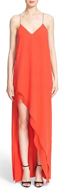 Narciso Rodriguez Asymmetrical Silk Crepe Dress