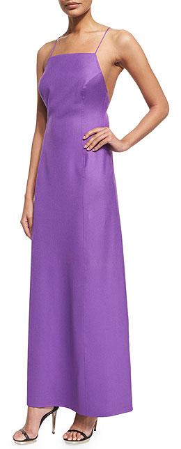 Michael Kors Collection Sleeveless Cross-Back A-Line Purple Slip Dress