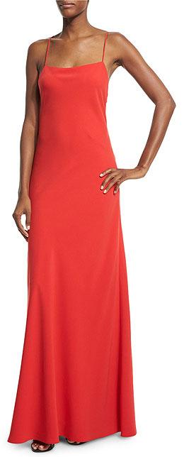 Jill Jill Stuart Sleeveless Ruffle-Back Red Slip Dress Gown