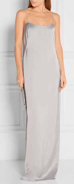 CALVIN KLEIN COLLECTION Satin Light Grey Slip Dress Gown