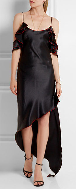 JUAN CARLOS OBANDO Asymmetric ruffled silk-satin midi slip dress