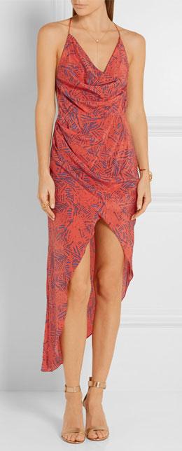 HANEY Holly asymmetric printed silk-crepe slip dress