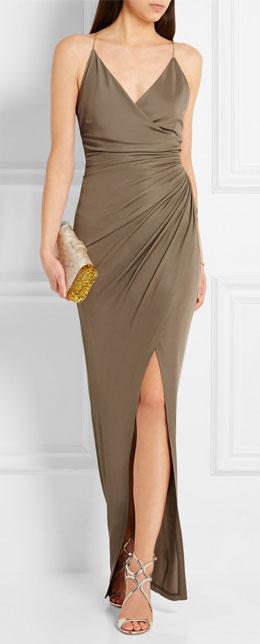 Balmain Embellished gathered stretch-jersey maxi slip dress