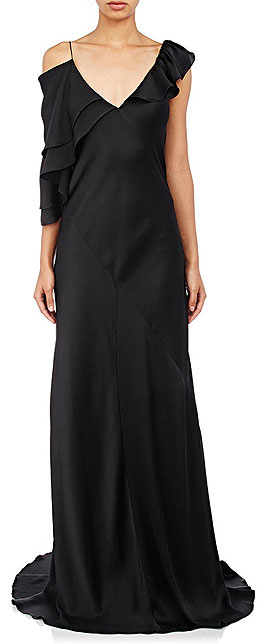 Saint Laurent Black Silk Bias-Cut Ruffle Slip Dress Gown