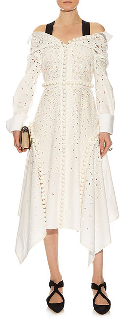 PROENZA SCHOULER Off-the-shoulder broderie anglaise cotton dress