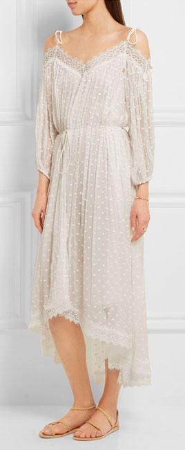 ZIMMERMANN Realm lace-trimmed fil coupé silk-georgette midi dress