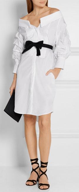JOHANNA ORTIZ Jo March off-the-shoulder cotton-poplin dress
