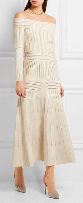 Barbara Casasola Off-the-shoulder mesh-paneled stretch-jersey dress